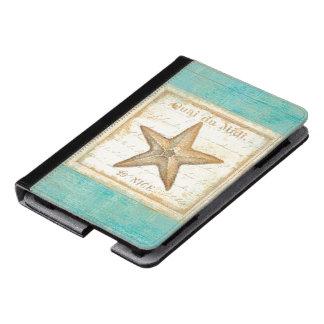 Starfish on Teal Wood Kindle Case