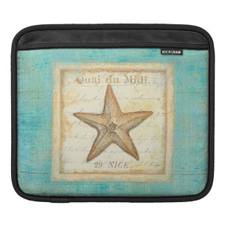 Starfish on Teal Wood Sleeve For iPads