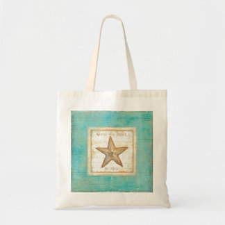 Starfish on Teal Wood Tote Bag