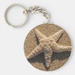 Starfish on the beach basic round button keychain