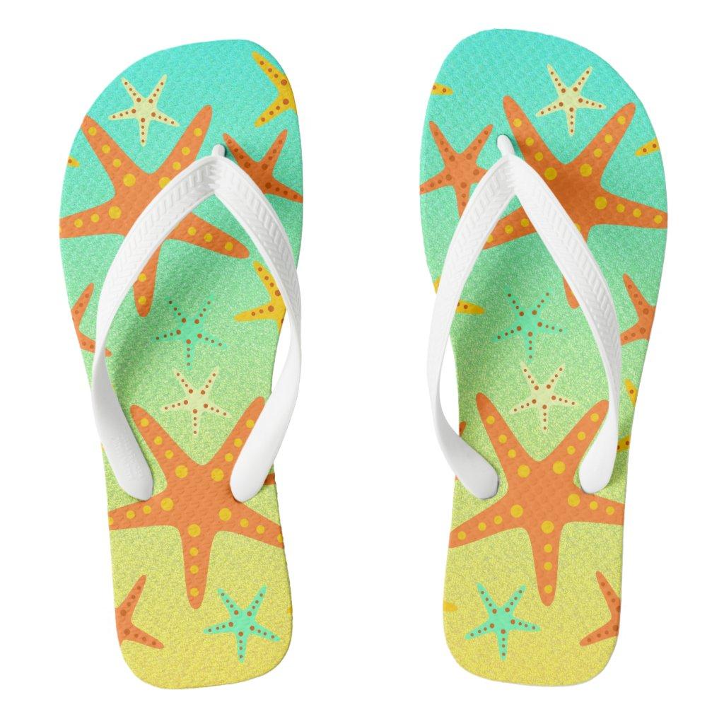 Starfish on the beach flip flops