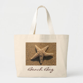 Starfish on the beach large tote bag