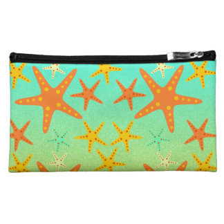 Starfish on the beach makeup bag