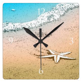 Starfish on the Beach Square Wall Clock