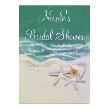 Beach Themed Starfish on the Beach Teal Sea Party Banner Poster
