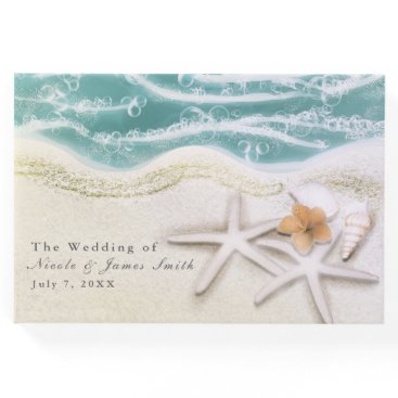Beach Themed Starfish on the Beach Teal Sea Tropical Wedding Guest Book