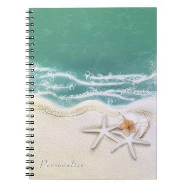 Beach Themed Starfish on the Beach Teal Sea Water Elegant Spiral Notebook