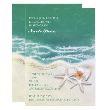 Beach Themed Starfish on the Beach Teal Sea Water Invitations