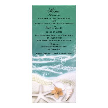 Starfish on the Beach Teal Sea Water Menu