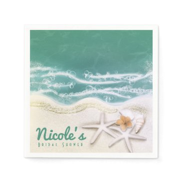 Beach Themed Starfish on the Beach Teal Sea Water Ocean Party Napkin