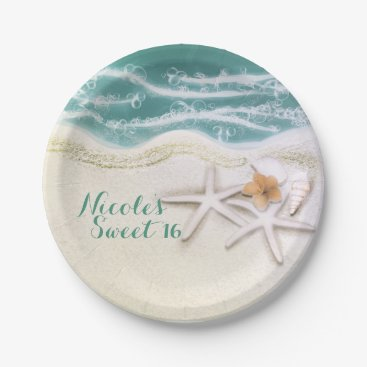 Beach Themed Starfish on the Beach Teal Sea Water Ocean Party Paper Plate
