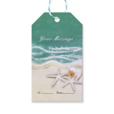 Beach Themed Starfish on the Beach Teal Sea Water Party Favor Gift Tags
