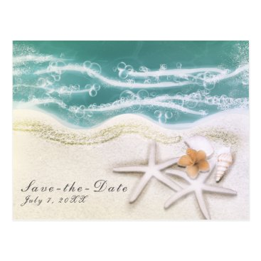 Beach Themed Starfish on the Beach Teal Sea Water Save the Date Postcard