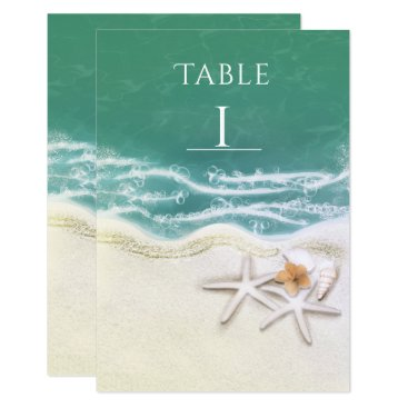 Beach Themed Starfish on the Beach Teal Sea Water Table Number Card