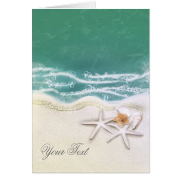 Beach Themed Starfish on the Beach Teal Sea Water Thank You Card