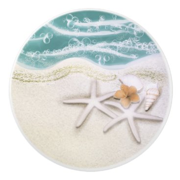 Beach Themed Starfish on the Beach Teal Sea Water Tropical Ceramic Knob