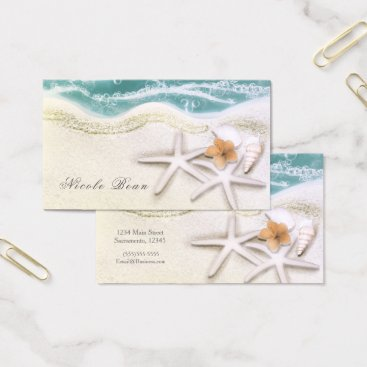 Beach Themed Starfish on the Beach Teal Sea Water Tropical Chic Business Card