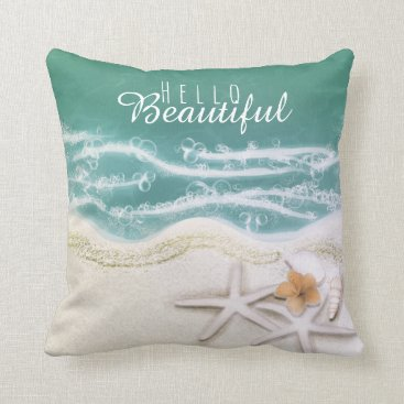 Beach Themed Starfish on the Beach Teal Sea Water Tropical Chic Throw Pillow