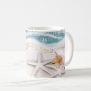 Beach Themed Starfish on the Beach Teal Sea Water Tropical Coffee Mug