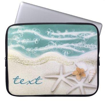 Beach Themed Starfish on the Beach Teal Sea Water Tropical Laptop Sleeve