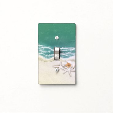 Beach Themed Starfish on the Beach Teal Sea Water Tropical Light Switch Cover