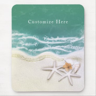 Beach Themed Starfish on the Beach Teal Sea Water Tropical Mouse Pad