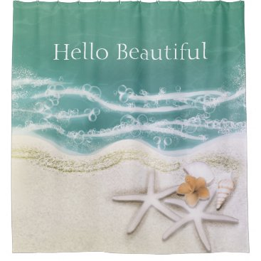 Beach Themed Starfish on the Beach Teal Sea Water Tropical Shower Curtain