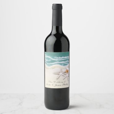 Beach Themed Starfish on the Beach Teal Sea Water Wine Labels
