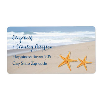 Starfish on the sand destination beach wedding label