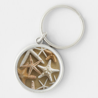 Starfish On The Sand Silver-Colored Round Keychain