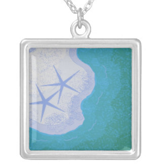 Starfish on the Sandy Beach Silver Plated Necklace