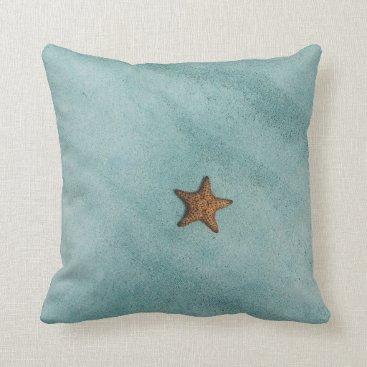 Beach Themed Starfish On Turquoise Ocean Throw Pillow
