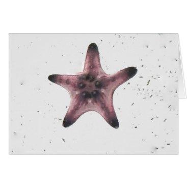 Beach Themed Starfish On White Sand Minimalism Pattern Card