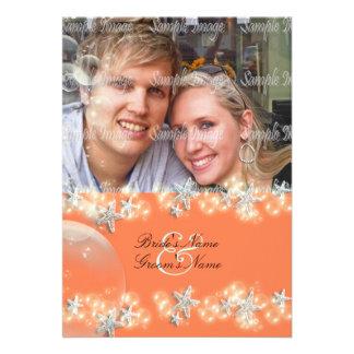 Starfish orange blue white wedding invitations