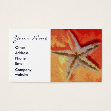 Professional Business Starfish Orange Business Card
