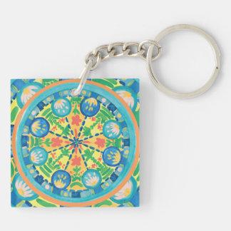 Starfish & Orange Slices Mandala Keychain