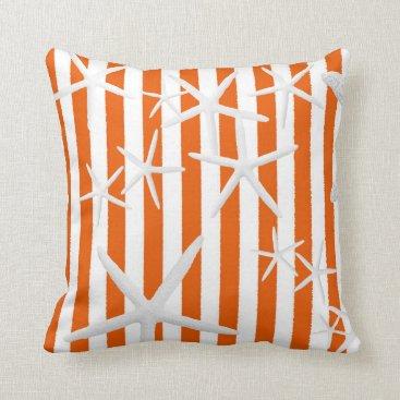 Beach Themed Starfish Orange Stripes Striped Throw Pillow