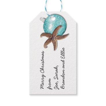 Beach Themed Starfish Ornament Tropical Christmas Gift Tags