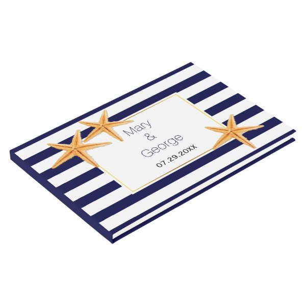 Starfish pair and stripes beach wedding guest book