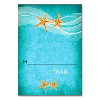 Starfish pair and veil beach wedding place card