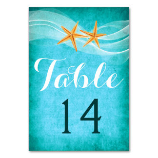 Starfish pair and veil beach wedding table number table cards