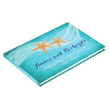 Beach Themed Starfish pair beach wedding guest book