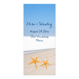 Starfish pair destination beach wedding menu