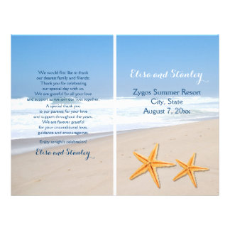 Starfish pair destination beach wedding program