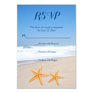 Starfish pair destination beach wedding RSVP Card