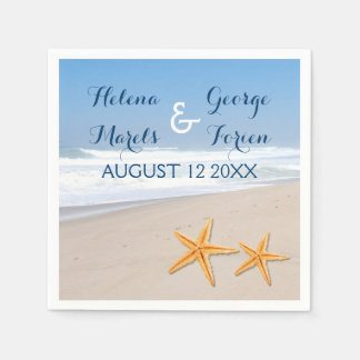Starfish pair destination summer beach wedding paper napkin