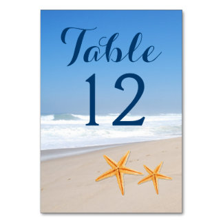 Starfish pair modern beach wedding table number card