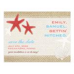 Starfish Pair Rustic Beach Wedding Save the Date Postcard