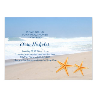 Starfish pair seaside wedding bridal shower card