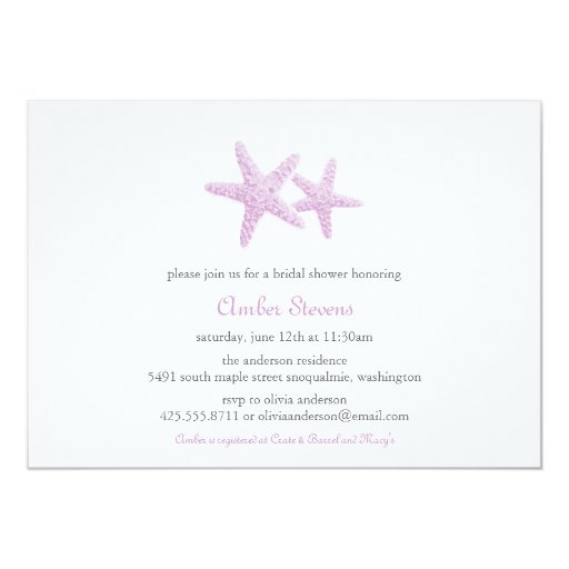 Starfish Pair Shower/Party Invitation